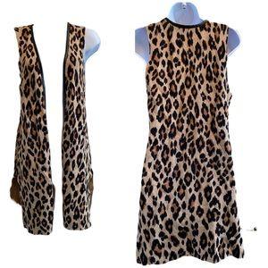 Like New! Chicos leopard long vest S